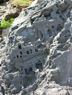 Natural rock formation of minature cave dwellings