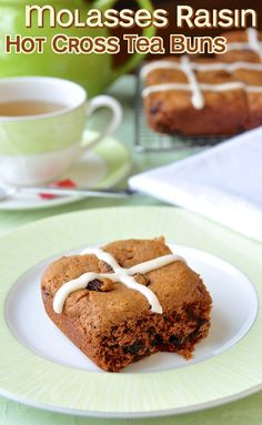 Hot Cross Molasses Raisin Tea Buns - here's one for the dough-phobic; a shortcut, molasses and raisin, tea biscuit version of this Easter favorite with an alternative suggestion if you are not fond of molasses.