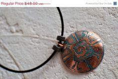 Mens Copper Galactic Butterlfy Domed Necklace - Hun Nab Ku