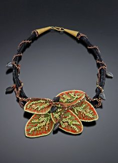 ~~ Embroidered Leaves Necklace by Kathy King ~~