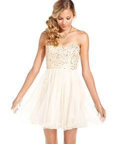 Speechless Juniors Dress, Strapless Sequin Corset - Juniors Dresses - Macy's