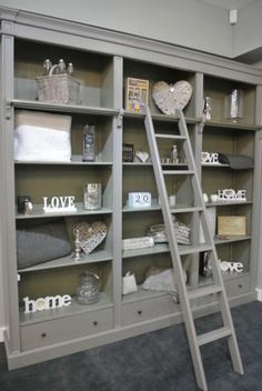 Grey-Fayence-Library-Bookcase-with-Ladder-Grey-Bookcase-with-Ladder-Bookcase