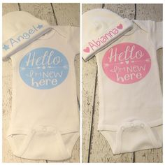 Hello I'm new here for him or her! Add a personalized hat to announce the name. #newbaby #welcometotheworld