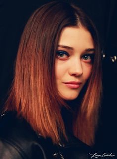 sleek hair, apricot lips, and pop-of-color eyes @Christina & Minkoff #nyfw