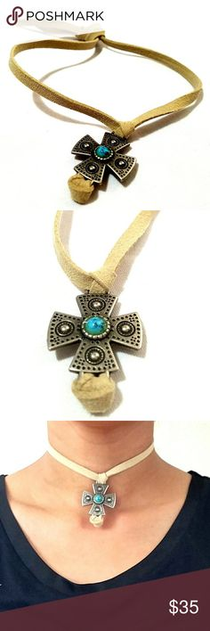 Stunning Te Quiero soft leather tie back choker Stunning Te Quiero soft leather long tie back choker with turquoise center stone Atid Clothing Jewelry Necklaces