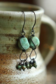 Wire Wrapped Stone Textured Turquoise Czech Glass Pebbles With African Turquoise Accents, Earrings