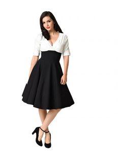 Women's Colorblock  Delores Swing Dress - Black and White