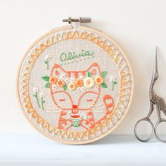 Olivia Personalized Embroidery Hoop Art - Gift for Cat & Tea Lover's Home…