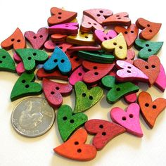 Primative Heart Shaped Wooden Buttons Assorted by LindsayStreemDIY, $2.95