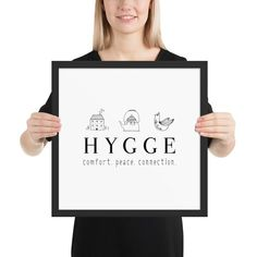 HYGGE Framed poster - Comfort - Peace - Connection - Danish Definition for Happiness - Minimalist Scandinavian Folk Design Memento Vivere, Minimalist Scandinavian, Hygge, Matte Black, Connection, How To Draw Hands, Peace, Prints, Handmade