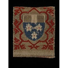 Textile fragment from Koln, Germany  ca 1450-1500  Woven Silk with silk embroidery