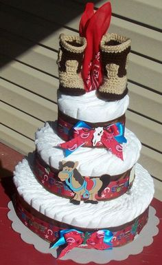Boy's Cowboy Diaper Cake-Western Diaper Cake- LARGE SIZE  Diaper Cake Baby Shower Gift Baby Gift Baby Shower Centerpiece. $65.00, via Etsy.