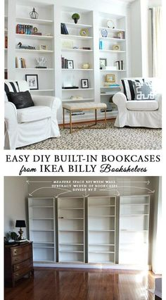 to easily DIY built-in bookcases from IKEA Billy book shelves, and easy IKEA hack you can do in a weekend.How to easily DIY built-in bookcases from IKEA Billy book shelves, and easy IKEA hack you can do in a weekend. Ikea Regal, Bookshelves Built In, Billy Bookcases, Ikea Billy Bookcase Hack, Diy Built In Shelves, Ikea Built In, Ikea Book Shelves, Living Room Bookshelves, Diy Bookshelf Wall