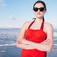 Red/Burgundy Halter neck one-piece $69.50 Find it at www.kingdomandstate.com #swim #swimwear #swimtop #swimbottoms  #retroswimwear #onepiece #onepieceswimsuit