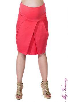 Jupe de grossesse tulipe, couleur framboise - My Tummy France - Vêtements de maternite