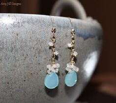 Aqua Chalcedony Earrings Moonstone Cluster Wire by AmyJillDesigns, $46.00