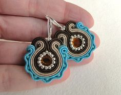 brown and turquoise soutache earrings