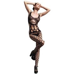Black See Through Fishnet One Piece Body Stocking ($24) ❤ liked on Polyvore featuring intimates, hosiery, tights, black, fishnet tights, black tights, fishnet stockings, black fishnet tights and sexy black stockings