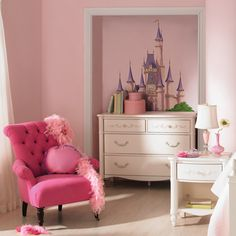 Disney Princess Castle Mini Mural $18 at Walmart. (They would love this!)