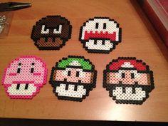 Nintendo Mushroom Coaster Set perler beads by Perler-Princess on deviantART
