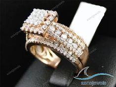 Diamond Bridal Set Engagement Ring & Wedding Band Round Cut 10K Rose Gold #aonejewels