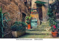 stylized with cross processing old traditional courtyard in small medieval town of Sorano in Italy with potted plants