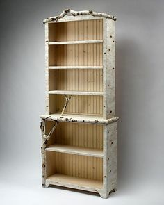 """Birch Bark Bluff: Full Shelf""  Wood & Resin Bookcase  Created by Mike Dillon $6554"