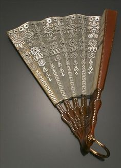 Victorian 14-Karat Rose-Gold, Silver Mounted and Celluloid Hand Fan, Retailed by Tiffany & Co. Last Quarter 19th Century. #Victorian #HandFan #antique