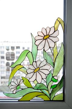Stained glass window corner (suncatcher). Made in Spectrum and Wissmach glass. My own original design, hand-crafted with stained glass. This window corner can decorate any window area in your home! Size: 36,5*27 cm (14,6*10,8) 2 suction cups included Being hand-made, the item is one of
