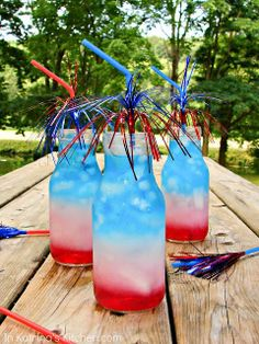 This red, white, and blue drink perfectly festive for kids and adults. How does it work? The drink with the highest sugar content stays on the bottom. Pour the red fruit punch first, the blue Gatorade next, and the diet 7-up or sprite last.