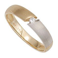 Damen Ring 585 Gold Rotgold Bicolor 38 diamanten brillanten
