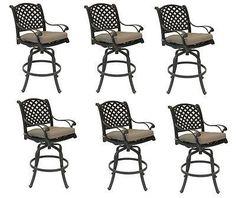 Set Of 6 Outdoor Patio Bar Stools Furniture Nassau Swivel Cast Aluminum  Barstool