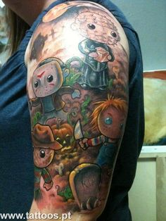 Tatuagem bonecos no braço Tattoo Foto, Tatoo Art, Body Art Tattoos, Sleeve Tattoos, Tatoos, Tattoo Ink, Skull Tattoos, Geek Tattoos, King Tattoos