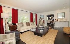 Love the simple bold red drapes, it gives the room a punch of color. Bill & Giuliana Rancic's house in CA 6