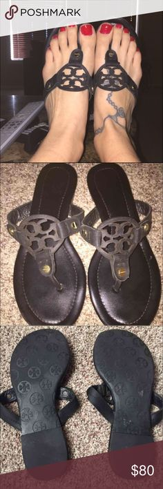 Authentic black Tory burch miller sandals Size 7.5 .. black .. in great condition with minor wear.. there are minor scuff marks on the front of the shoes... other then that there are no flaws . Super cute . The numbers on the inside of the straps have mostly come off from wear . Tory Burch Shoes Sandals