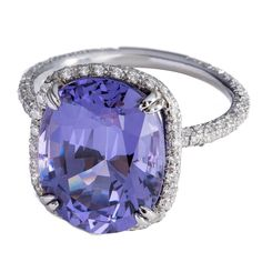 Rare oval violet spinel Diamond Platinum Cocktail ring  | From a unique collection of vintage cocktail rings at https://www.1stdibs.com/jewelry/rings/cocktail-rings/