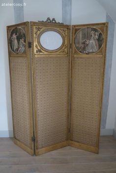 Paravent ancien , style Louis XVI  Brocante de charme atelier cosy.fr