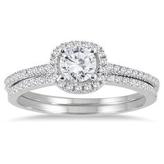 78 Carat TW Diamond Halo Bridal Set in 14K White Gold *** Click image to review more details.(This is an Amazon affiliate link and I receive a commission for the sales)