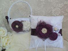 Ring Bearer Pillow/Flower Girl Basket Set Plum by DarlasBlooms