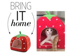 """Bring It Home: Strawberry Cat Bed House"" by polyvore-editorial ❤ liked on Polyvore featuring interior, interiors, interior design, home, home decor, interior decorating and bringithome"