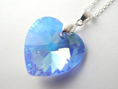 Large grey swarovski heart necklace silver night crystal silver large blue swarovski heart necklace light sapphire aurora borealis crystal blue crystal necklace swarovski elements crystal heart aloadofball Images