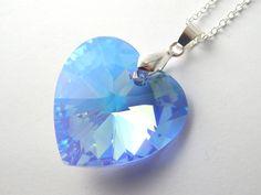 Large grey swarovski heart necklace silver night crystal silver large blue swarovski heart necklace light sapphire aurora borealis crystal blue crystal necklace swarovski elements crystal heart aloadofball Images