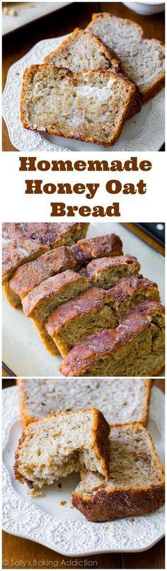 My favorite homemade bread recipe - no kneading, straightforward. Honey-sweetened and perfect with strawberry jam.