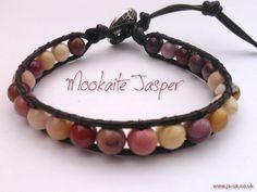 Handcrafted Leather & Gemstone Single Wrap Bracelet - Mookaite Jasper