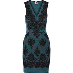 M Missoni - Lace-appliqu&eacuted Jacquard-knit Wool Mini Dress ($299) ❤ liked on Polyvore featuring dresses, teal, lace mini dress, jacquard dress, lacy dress, mini dress and lace dress