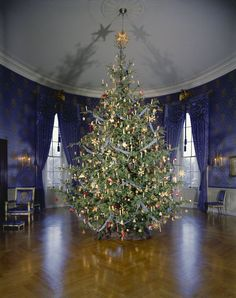 1961: the Blue Room Christmas Tree at the White House. Photographed on 12 December.