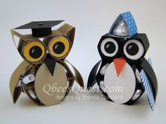 Hershey's Owl and Penguin Tutorial by Qbee - Cards and Paper Crafts at Splitcoaststampers Candy Crafts, Paper Crafts, Diy Paper, Craft Items, Craft Gifts, Hershey Kisses, Hershey Candy, Hershey Chocolate, 3d Quilling