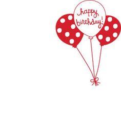 Happy Birthday Balloons Rubber Stamp