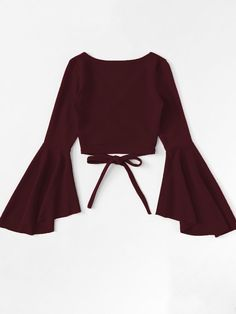 Wrap shirt with flounce sleeves is part of Outfits - Wickelshirt mit Volantärmeln SHEIN Wrap shirt with flounce sleeves Shein Girls Fashion Clothes, Teen Fashion Outfits, Girl Fashion, Girl Outfits, Fashion Dresses, Fashion Jobs, Pink Clothes, Young Fashion, 2000s Fashion