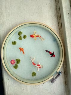 Tried out doing an organza koi pond : Embroidery